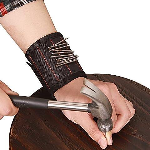 Hense Bracelet magnétique avec aimants puissants pour maintenir Vis, clous, forets, ciseaux, et petits outils, outil pour DIY Bricoleur, hommes, femmes (Hsz-07)