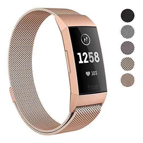 Reety Armband kompatibel mit Fitbit Charge 3, Milanaise, 100% 316L Edelstahl, verstellbares Ersatz-Zubehör, Fitness-Armband mit einzigartigem Magnetverschluss, für Damen und Herren, Rose-Gold