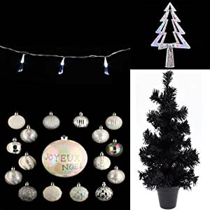 Sapin petit modèle noir, Cimier et assortiment de décorations pour sapin de noël
