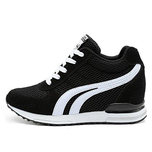 LILY999 Sneakers Zeppa Interna Donna Scarpe da Ginnastica Basse Sportive  Fitness Tacco Zeppa 7 cm Nero f431e4eb5d2