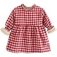 ASHOP Vestidos de Princesa 2019 Tutú Faldes de Fiesta Plaid Fruncido Vestido T-Shirt Manga Larga Algodón Casual Niñas 1-5 Años