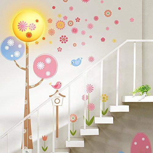 Niteangel Liebenswert Kinder Wandleuchte, Die Kombination von Wandtattoo und LED Lampe - Feder