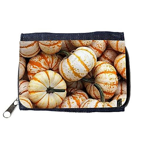Portemonnaie Geldbörse Brieftasche // M00154942 Weiß Orange Kürbis-Kürbis-Flecken // Purse Wallet