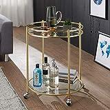 FineBuy Design Servierwagen Jamie Gold Ø 57 cm Beistelltisch   Teewagen Metall mit Rollen   Küchenwagen mit Glasplatten   Barwagen rund 75 cm hoch   Küchentrolley modern   Rollwagen