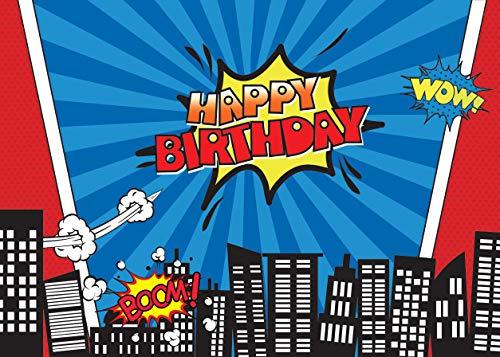 LYWYGG 7x5FT Vinyl Bunte Fotografie Hintergrund Stadt Gebäude Cartoon Superheld Geburtstag Kinder Hintergrund Photocall für Party Studio Requisiten CP-135