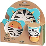 Vajilla de bambú bebé e Infantil, Material ecológico sin BPA. Varios Colores y Animales, Apto para lavavajillas (Cebra)