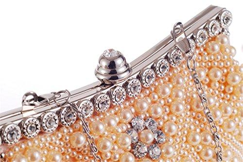 ERGEOB Damen Clutch Perle Abendtasche Diamante Tasche für Event Party Hochzeit Theater Kino weiss 04 style 3 Champagner Farbe
