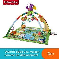 Fisher-Price Tapis Musical d'Éveil de la Jungle pour Bébé, avec Plus de 10 Jouets et Activités, Musique et Lumières Dansantes, dès la Naissance, DFP08