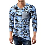 NEIbax Herren Herbst Casual Camouflage Patchwork Langarm V-Ausschnitt T-Shirt Top Bluse Fußball Fan-Trikots Longsleeve Langarm-Shirt(Blau,M)