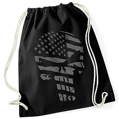 Punisher/Castle/Marvel Drapeau Américain/USA/100% coton sac de gym avec imprimé design France et motif/uni Taille unique, unisexe/Idée cadeau/couleurs: noir, blanc/sac à dos sac, jute choulgan-tach, jute Sacs Hipster Fashion/vanverden, noir/gris, taille unique