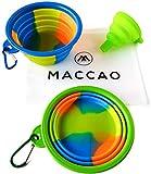 MACCAO Reisenapf Set Silikon Faltbar für Hunde & Katzen Ideal für Unterwegs | Zwei Hundenäpfe Klappbar + Trichter + Tasche Zum Mitnehmen (M, Grün,Blau)