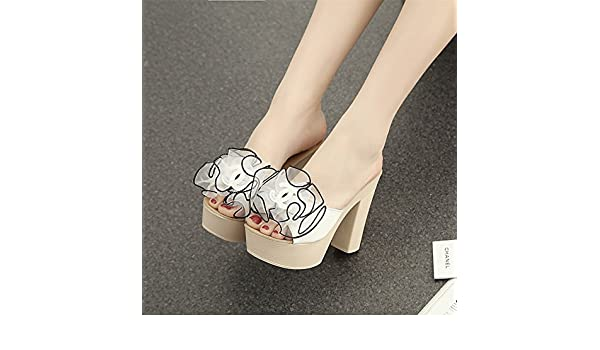 GTVERNH Womens Shoes//Thick Bottom Slippers Rough Summer Fashion Wear White Thirty-Nine