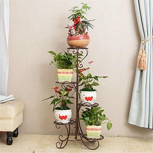 Soporte de varios pisos para macetas, para presentar flores, multiusos, para exteriores e interiores como balcones, salas de estar, escaleras, como regalo de Navidad, cumpleaños..., marrón, 5 Layer Rack