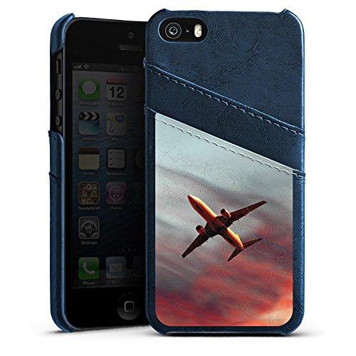 Apple iPhone 5s Housse Étui Protection Coque Avion Mouches Avion Étui en cuir bleu marine