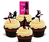Sexy Halloween sorcières silhouettes – comestible pour cupcakes – montant comestible gâteau Décorations, Pack of 12