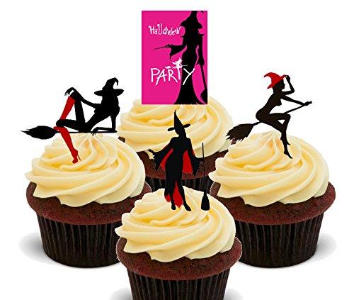 Silhouetten–Essbare Cupcake Topper–Stand-Up Wafer Kuchen Dekorationen, 12er-Pack (Halloween-dekoration Hexe Silhouette)