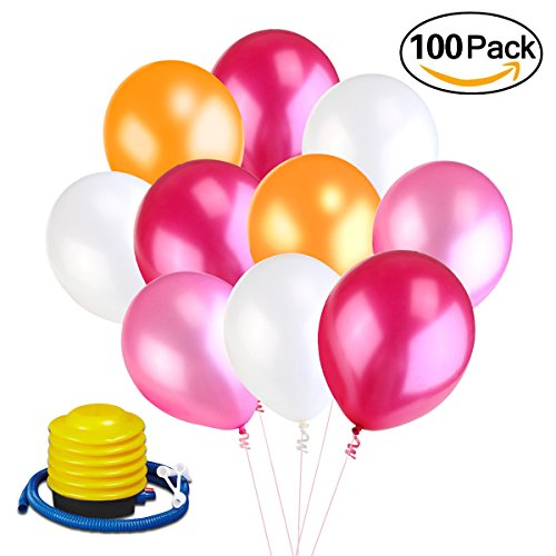 Qoodus Latex Birthday Balloons Assorted Color Party Balloons (100 Pcs) 12 inch Pink & White & Red & Orange Balloons with Inflatable Air Foot Pump for Wedding Anniversary Decorations