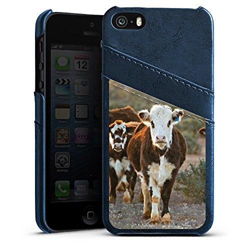 Apple iPhone 5 Housse étui coque protection Vache Vaches Veau Étui en cuir bleu marine