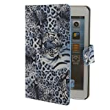 Water & Wood Tiger Pattern Leather Magnetic Smart Case Cover with Stand for iPad Mini Blue