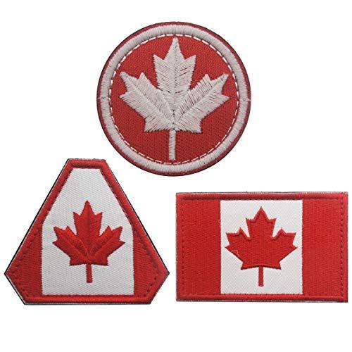homiego Kanada Flagge bestickt Patch Canadian Maple Leaf Eisen auf Sew auf National Emblem für Rucksack, Uniformen Canada Flag A -