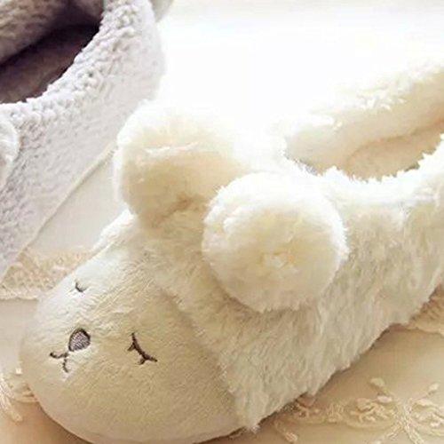 Fortuning's JDS Unisex adulti coppia accogliente vello casa Calzature pecore belle confortevole avvolgere pantofole Bianco