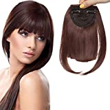 Fausse Frange a Clip (8'=20cm,30g) Frange à Clip Cheveux Naturels [2 Clips Anti-Glisse] Sans Shedding/Tangle/Noeud [Marron Chocolat]