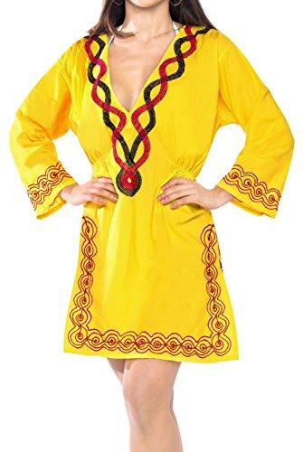 verschleiern Tunika bestickt langen Ärmeln Damen Anzug baden schwimmen gelb (Bestickt Langen Ärmeln T-shirt)