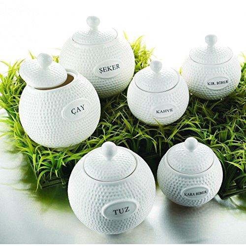 14 tlg Karaca Soßen Gewürz Gewürzdose Behälter Vorratsglas Kaffee Baharatlik Porzellan