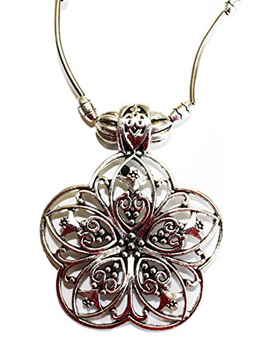 Collar Elégant flor Lotus plateado huecas círculo/bijou Glamour Boho Bohemia Chic étnica tribal/regalo Ideal Mujer Joven Base