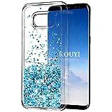 KOUYI Galaxy S8 Plus Hülle Glitzer, Luxus Fließen Flüssig Glitzer Mode 3D Bling Dynamisch Clear Transparent Silikon Weich Flexible TPU Bumper Cover Beschützer für Samsung Galaxy S8 Plus (Silber Blau)
