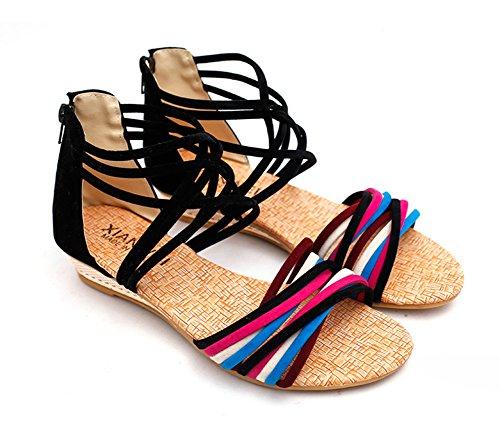 Minetom Donna Estate Moda Boho Stile Sandali Con Cinghia Scarpe Spiaggia Sandali Scarpe da Gladiatore Nero01