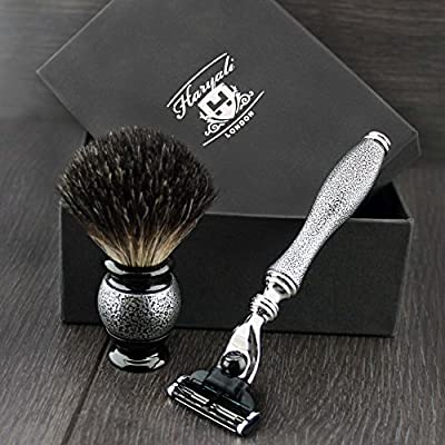 Haryali London 3 Edge Shaving Razor With Black Badger Hair Shaving Brush Perfect For Mens