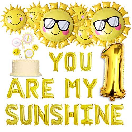 ty Dekorationen Du bist Mein Sonnenschein Ballon Banner Sommer Sonnenblumen Luftballons 1. Geburtstag Cake Topper Supplies ()