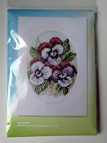 Pansies Orchidea Cross Stitch Card Kit