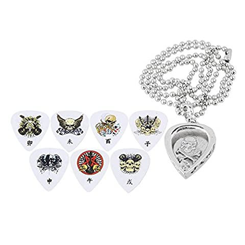 Yibuy Silver Metal Guitar Pick Necklace Pendant with Chain Heart Shape