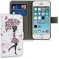 kwmobile Hülle für Apple iPhone SE / 5 / 5S - Wallet Case Handy Schutzhülle Kunstleder - Handycover Klapphülle mit Kartenfach und Ständer Mädchen Schirm Design Mehrfarbig Pink Weiß