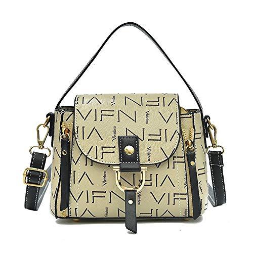 JUND Mode Druck Messenger Bag Damen Ledertasche Schick Buchstaben Muster Umhängetasche Einfach Handtasche (Einfache Office Halloween-kostüme)