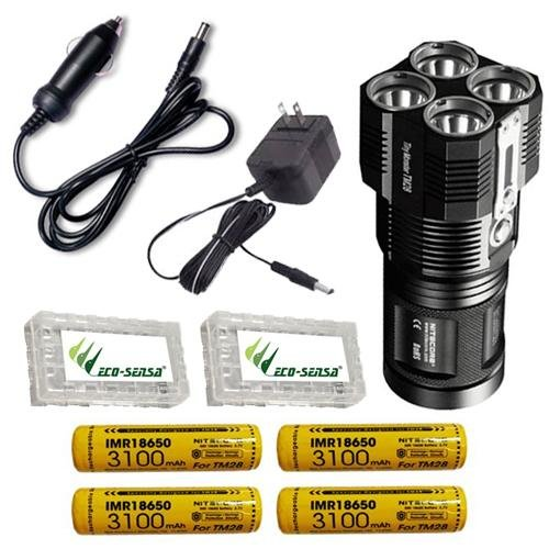 Bundle: Nitecore TM28 6000 Lumen Rechargeable Flashlight/Searchlight w/4x IMR18650 10A +Car & Wall Adaptor (Powered Car Amp)