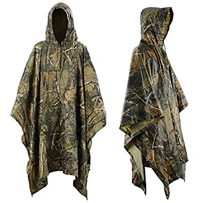 Infreecs Waterproof Rain Cape Raincoat, Rain Poncho for outdoor Camping Military cycling traveling, Hooded Rainwear with Emergency Grommet Corners for Shelter Use from Infreecs