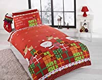 Rapport Junior Quilt Duvet Cover and Pillowcase Toddlers Bed Set Kids Xmas Father Christmas Santa Claus, Polyester-Cotton, Multi-Colour, Full