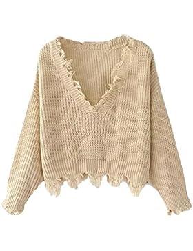Azbro Mujer Suéter Irregular Suelto con Cuello V con Borlas