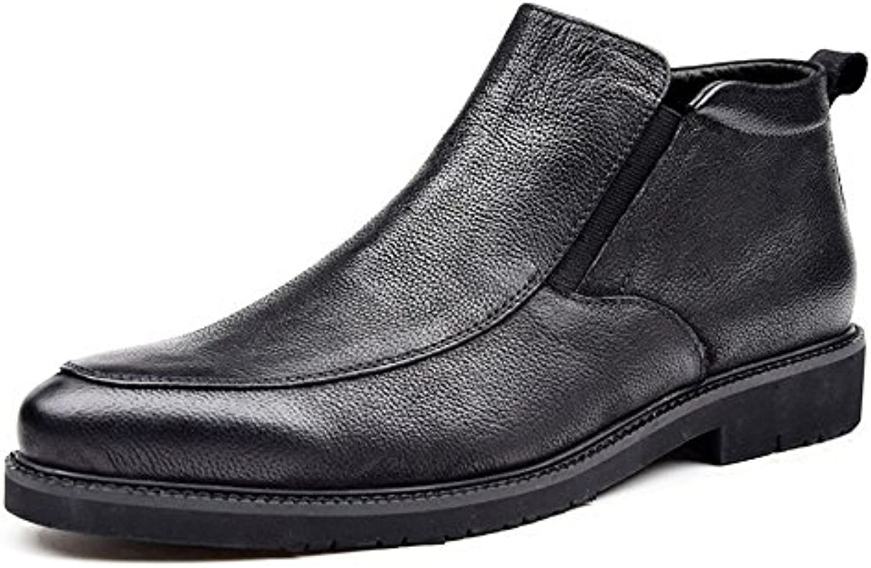 Vatertag Geschenk Männer Casual Kurze Stiefel aus Echtem Leder Atmungsaktive Motorrad Martin Stiefel (24 cm 26 5