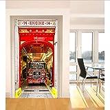 GLYOUNG Stickers Porte USA Camion De Pompiers Porte Autocollant pour Chambre Salon Cadeau Art 3D PVC Imperméable Decal Porte Wrap 77 * 200 Cm