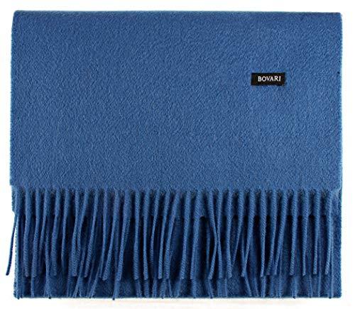 Bovari Herren Premium 100% Kaschmir Schal - Ganzjahresschal - (blau)