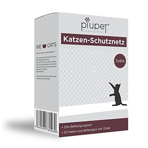 *Premium Katzen-Schutznetz von PiuPet® | inkl. 25m Befestigungsseil | Extragroß in 8x3m | Hochwertiges Sicherheitsnetz für Balkon & Fenster*