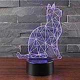 3D Optische Illusions-Lampen NHsunray LED 7 Farben Touch-Schalter Ändern Nachtlicht Für Schlafzimmer Home Decoration Hochzeit Geburtstag Weihnachten Valentine Geschenk Romantische Atmosphäre (Wächter-Katzen)