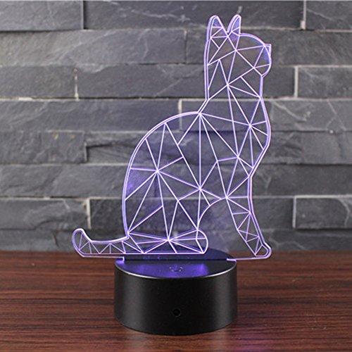 3D Optische Illusions Lampen NHSUNRAY LED 7 Farben Touch-Schalter Ändern Nachtlicht Für Schlafzimmer Home Decoration Hochzeit Geburtstag Weihnachten Valentine Geschenk (Wächter-Katzen) -