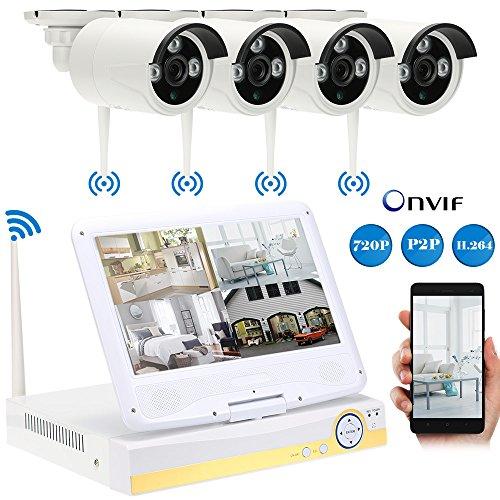 KKmoon Überwachungskamera Set mit Monitor  Wireless WiFi wasserdichte Outdoor Bullet IP Kamera Unterstützung HDMI P2P Onvif IR-CUT Night Vision Android/iOS APP Motion Detection E-Mail (Motion-detection-kamera-set)