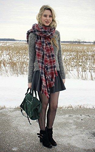 Salybaby XXL Schal Karoschal Deckenschal Kariert schal Herbst/Winter Warmer Schal Mehrfarbige Karierte Schals Umhangtuch Herrenschal/Damenschal (blau/rot)