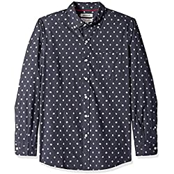 Marca Amazon - Goodthreads - Camisa estampada de manga larga de popelina y corte estándar para hombre, Azul (navy heather leaf print), US XS (EU XS)
